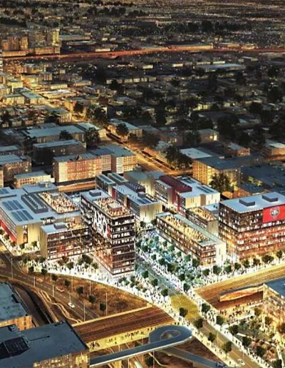 Downtown Aerial Night Rendering InnovateABQ Site